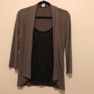 Taupe cardigan with attached black lace top